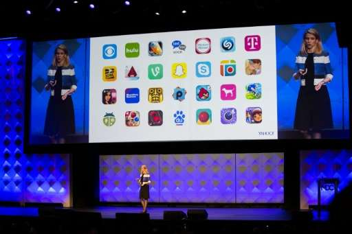 Yahoo! President and CEO Marissa Mayer delivers a keynote during the Yahoo Mobile Developers Conference on February 18, 2016 at