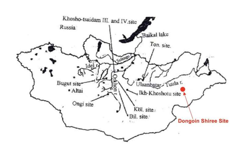 Discovery of ruins of ancient Turkic monument surrounded by 14 pillars with inscriptions