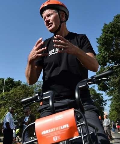 Erik Solheim, head of the UN Environment Programme, during a bike tour in Nairobi on Sunday ahead of the three-day UN Environmen