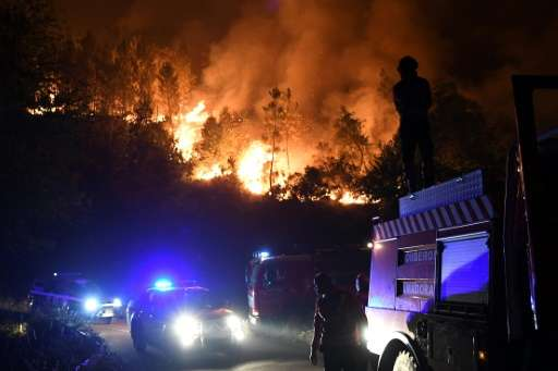 Firefighters battling a  wildfire in Colmeal near Gois, where the blaze was tamed on Thursday