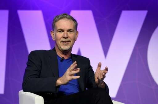 Founder and CEO of Netflix Reed Hastings speaks during a keynote speech at the Mobile World Congress in Barcelona on February 27