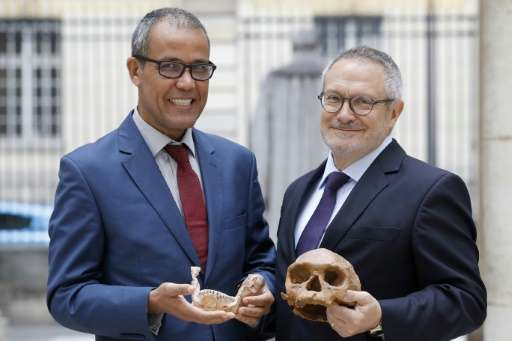 French paleoanthropologist Jean-Jacques Hublin and Abdelouahed Ben-Ncer of Morocco's  National Institute of Archaeology and Heri