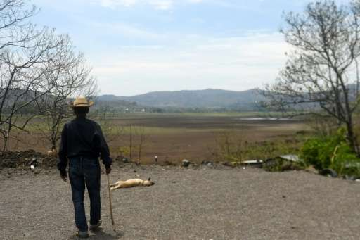 "Lake Atescatempa has dried up due to drought and high temperatures along the ""Dry Corridor,"" a zone that runs along th"