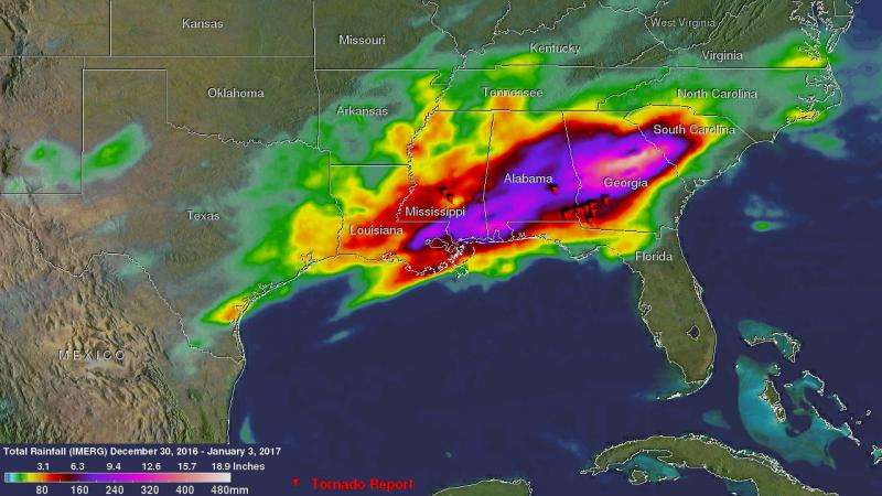 NASA adds up heavy rainfall from Southeastern U.S. severe weather