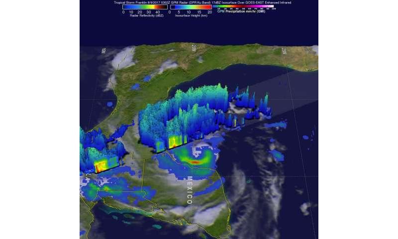 NASA analyzed intensifying Franklin's rains before landfall