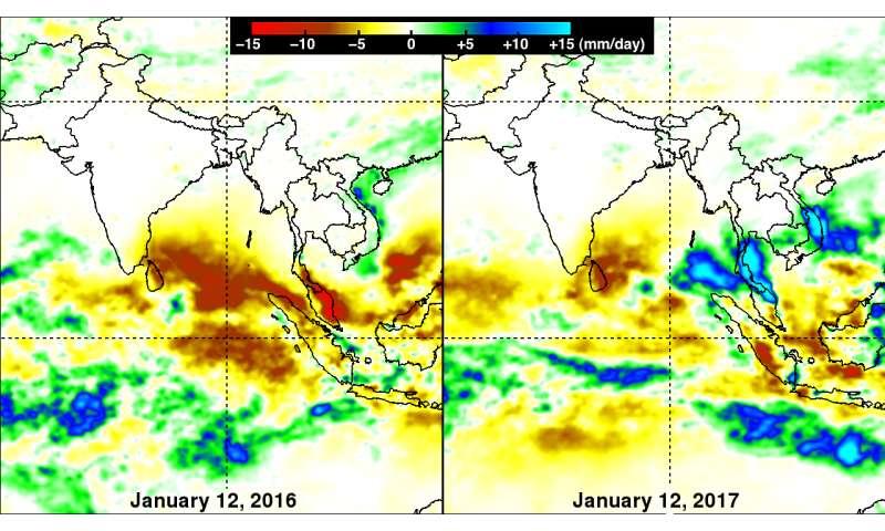 NASA analyzes heavy rainfall over Southern Thailand