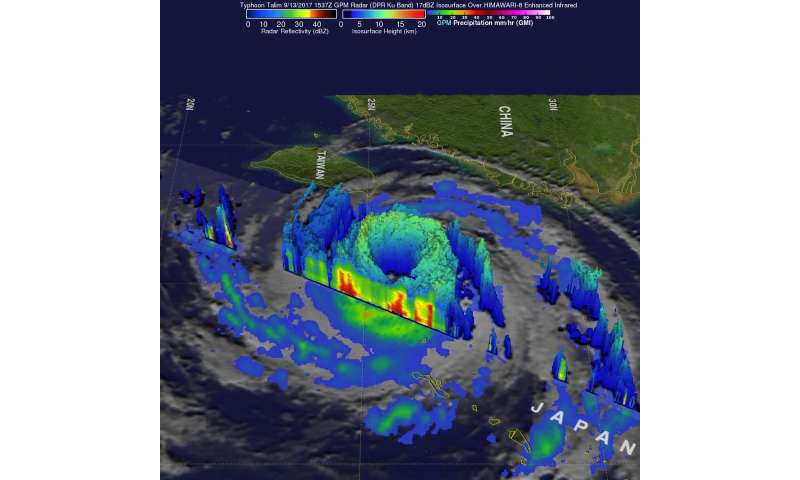 NASA gets a dramatic 3-D view of Typhoon Talim's large eye