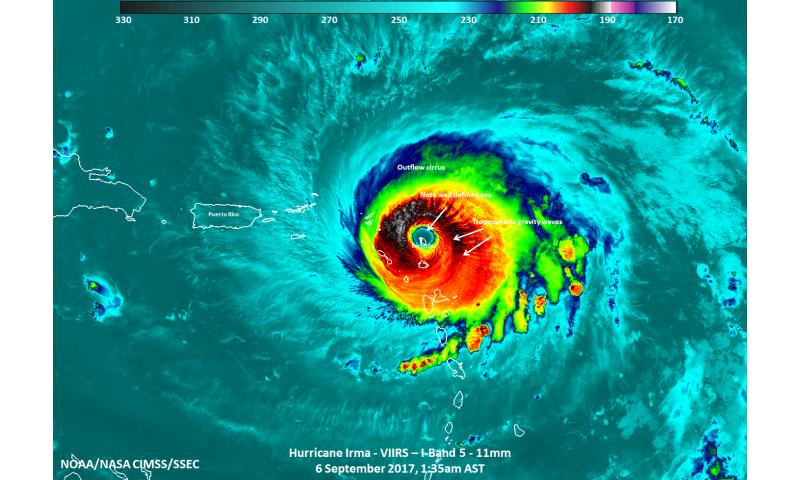 NASA satellite sees Barbuda in the eye of Hurricane Irma