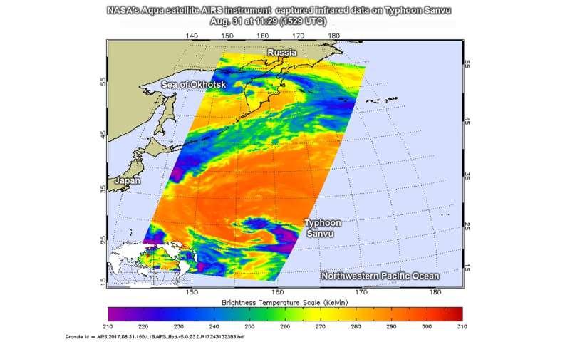 NASA sees Sanvu strengthen into a Typhoon