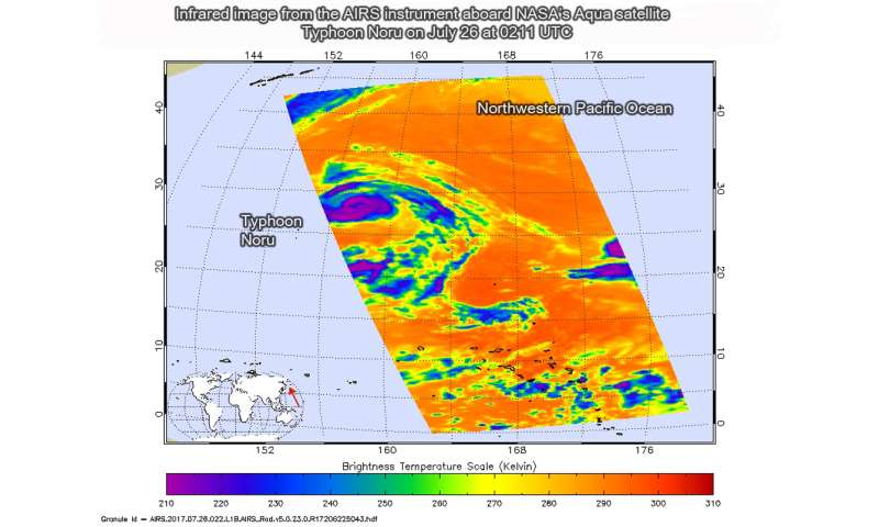 NASA watching Typhoon Noru head west in Northwestern Pacific