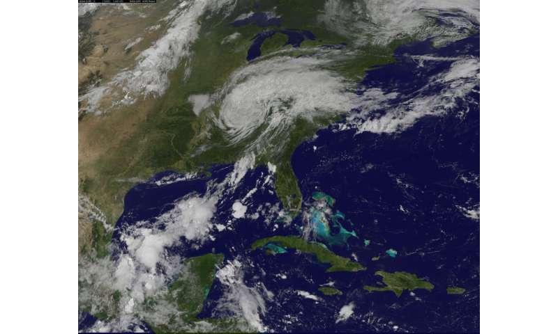 Satellite tracks post-Tropical Cyclone Harvey spreading into Ohio Valley