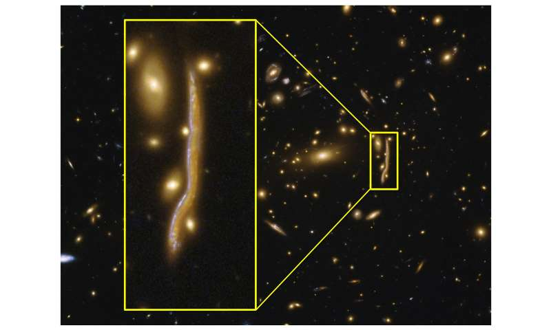 The anatomy of a cosmic snake reveals the structure of distant galaxies