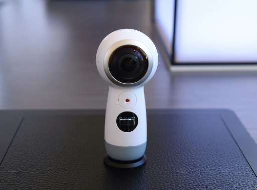 The new version of the Samsung Gear 360 camera is seen on display during a launch event for the Samsung Galaxy S8, in New York,