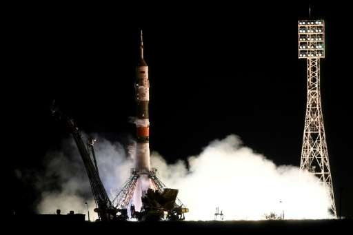 The Russian Soyuz spacecraft carrying two US astronauts and a Russia cosmonaut launched from the Baikonur cosmodrome as schedule