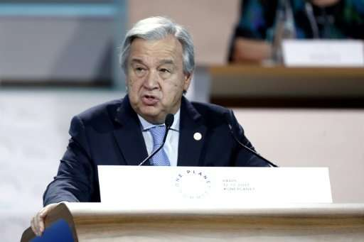 United Nations Secretary General Antonio Guterres speaks during the One Planet Summit on December 12, 2017 at La Seine Musicale