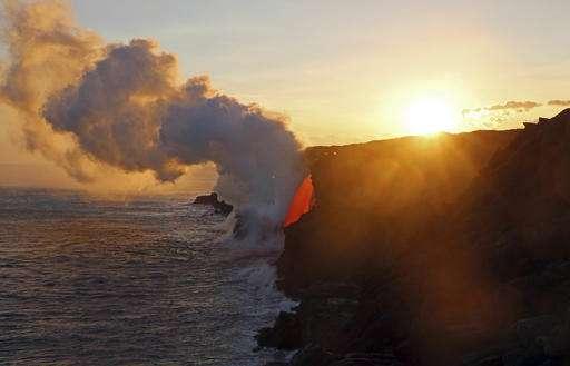 Massive lava stream exploding into ocean in Hawaii