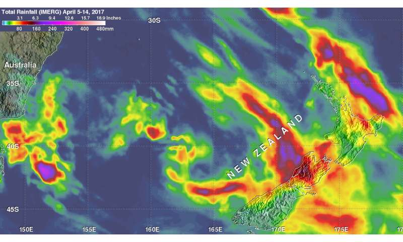 NASA examines New Zealand's extreme rainfall as Cyclone Cook's remnants move away