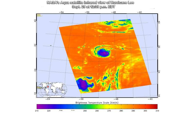 NASA satellite temperatures reveal a stronger Hurricane Lee