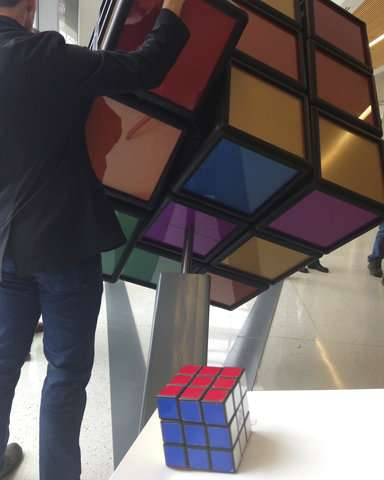 University of Michigan unveils 1,500-pound Rubik's Cube
