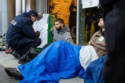 Environmental activists were blocking access to Poland's forest management office in Warsaw on Thursday over the felling of tree