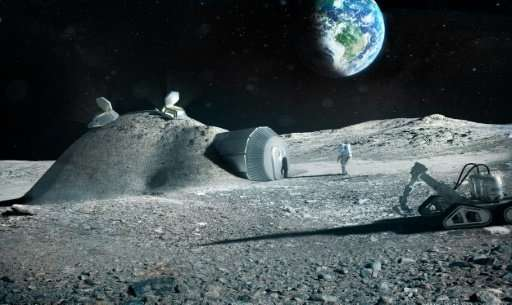 A handout artist impression released by the European Space Agency showing a lunar base made with 3D printing