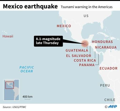 Map showing the epicentre of a 8.1-magnitude quake that hit the coast of Mexico late Thursday and countries in the Americas with