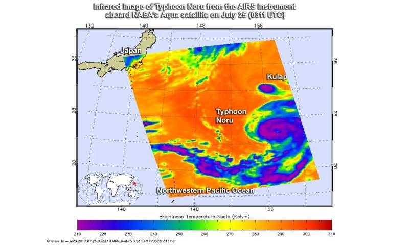NASA's infrared view ofpPowerful storms surrounding Typhoon Noru's eye