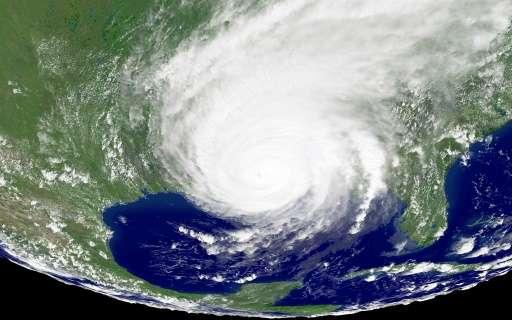 Satellite image of Hurricane Katrina bearing down on the US Gulf Coast on August 29 2005