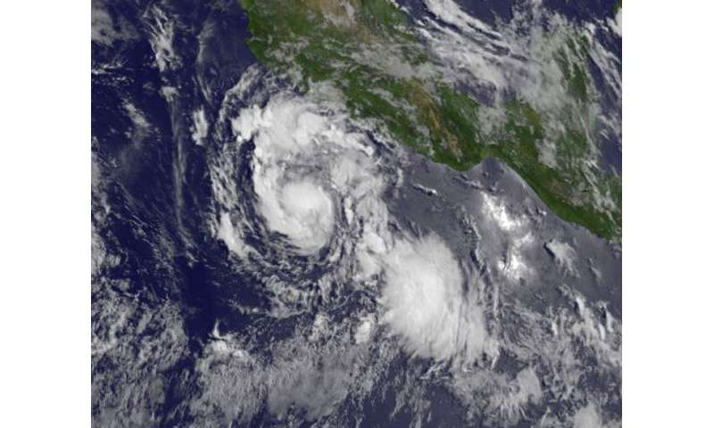 Satellite view of a compact Hurricane Hilary