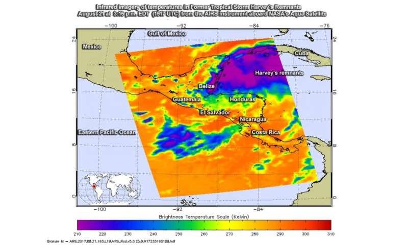 NASA infrared image shows Harvey's remnants affecting Yucatan