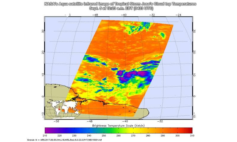 NASA sees development of Tropical Storm Jose