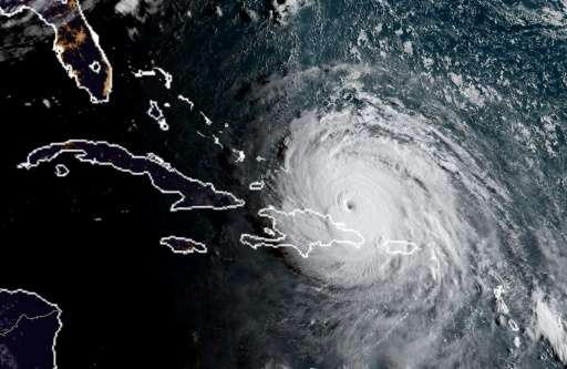 Satellite image obtained from the National Oceanic and Atmospheric Administration (NOAA) shows Huricane Irma at 1130UTC on Septe