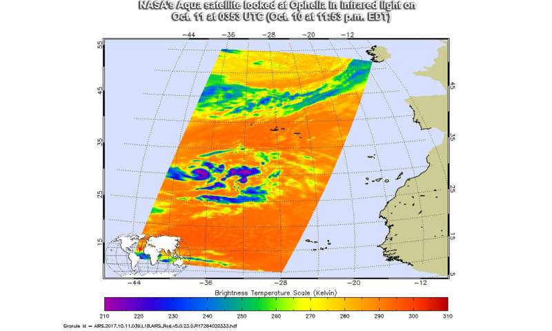 Tropical Storm Ophelia appears as a comma in NASA imagery