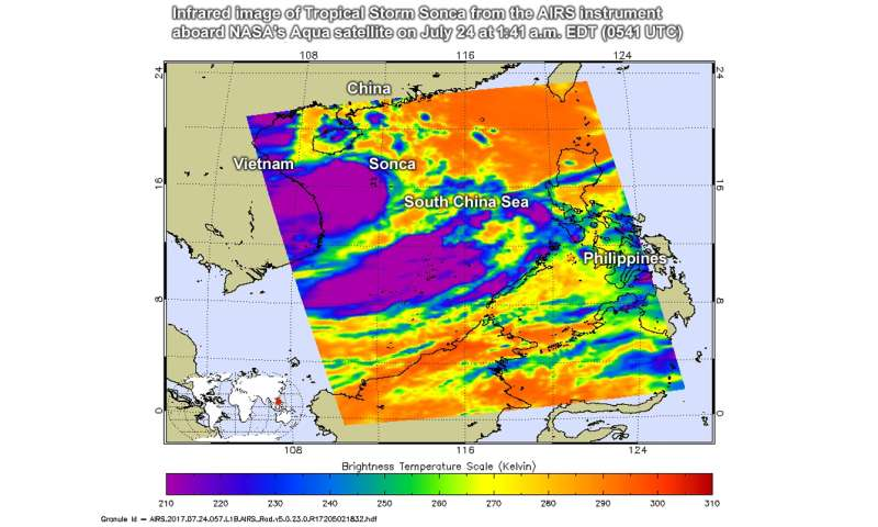 NASA sees Tropical Storm Sonca making landfall in Vietnam