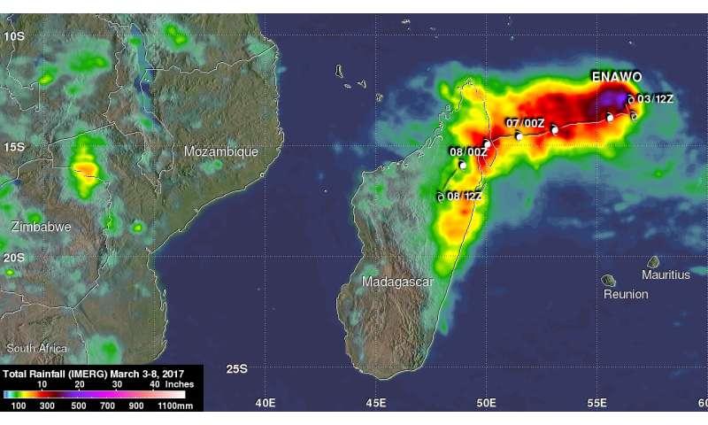 NASA examines the soaking from ex-tropical Cyclone Enawo exiting Madagascar
