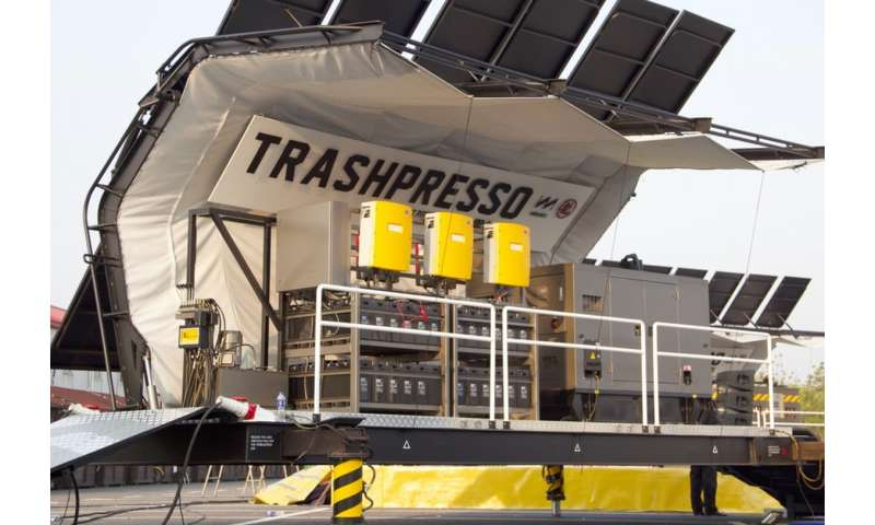 A mobile solar-powered recycling plant that turns trash into tiles
