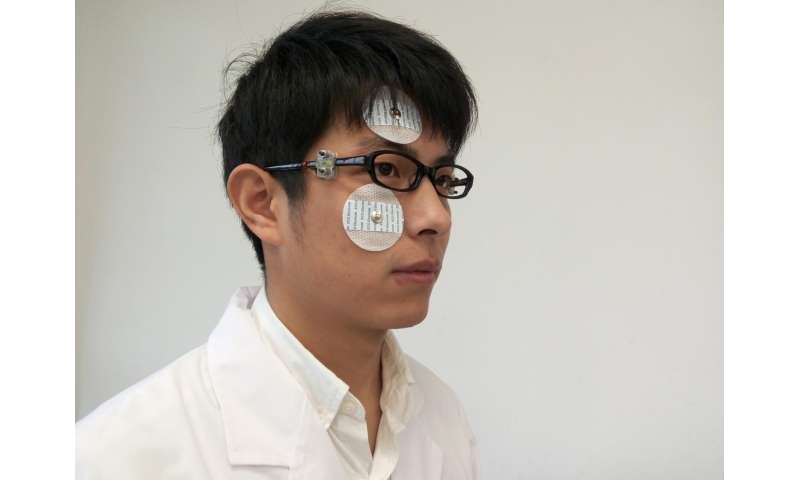 Eyeglass sensor allows for capturing eyeblinks for typing and controlling external devices