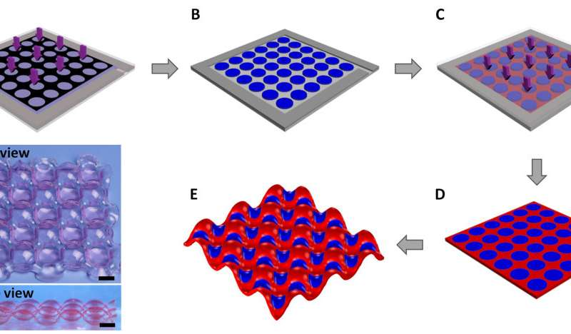 Periodically-patterned hydrogels: a model for cooperative deformation