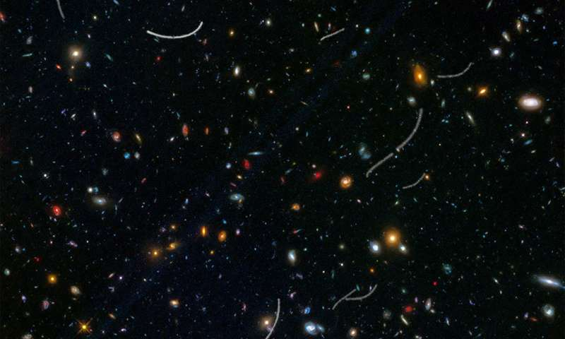 Image: Hubble sees nearby asteroids photobombing distant galaxies