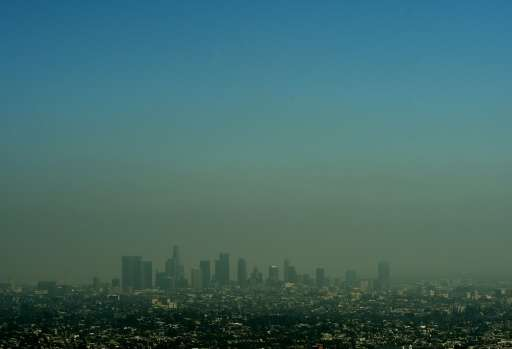 A cloud of smog shrouds the skyline of Los Angeles in California, which has committed to uphold the 2015 Paris climate deal desp