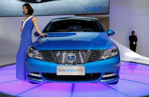A DENZA EV car displayed at the Shanghai Auto Show on April 19, 2017. Major manufacturers are announcing plans to boost their el