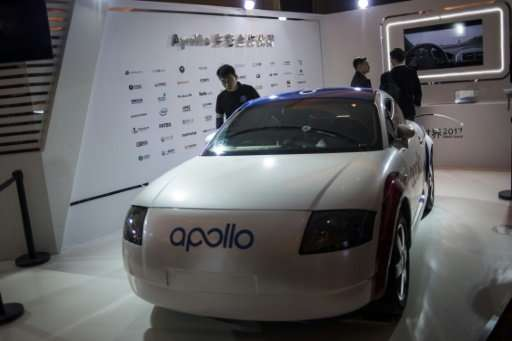 "A driverless car named ""Apollo"" is displayed at the annual Baidu World Technology Conference in Beijing on November 16"