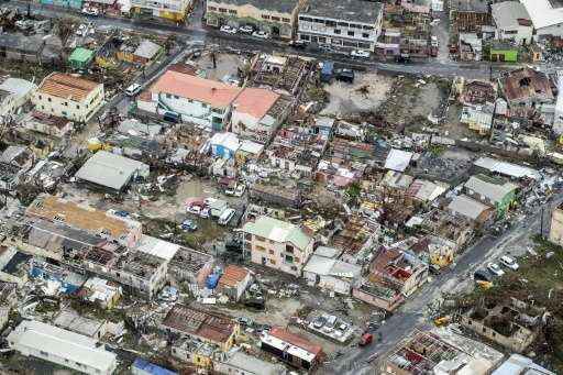 Aerial photograph taken and released by the Dutch department of Defense on September 6, 2017 shows the damage caused by Hurrican