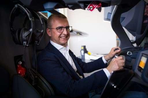 AeroMobil CEO Juraj Vaculik at the wheel of the firm's 'flying car'.