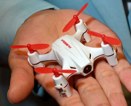 A H002 Nano remote control quadcopter by Hubsan at the InterDrone show in Las Vegas
