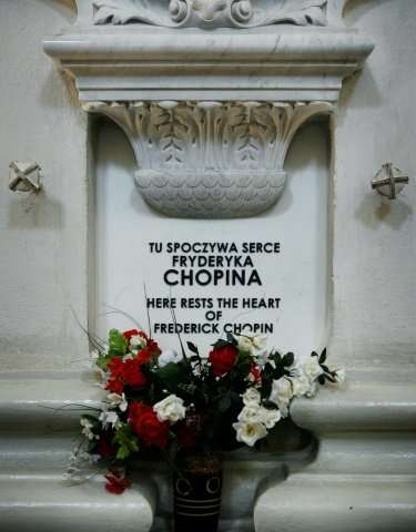 A memorial tablet marks the place where Chopin's heart is kept in Warsaw's Saint Cross church