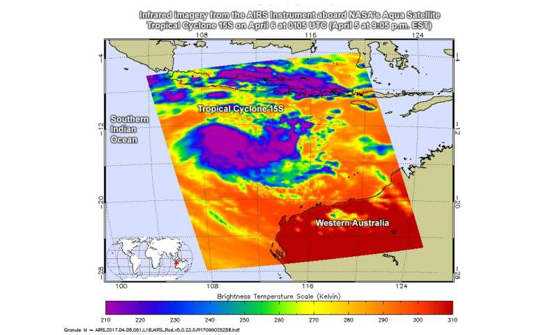 A NASA infrared look at the Southern Indian Ocean's 15th tropical cyclone