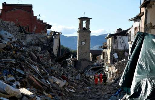 A picture taken on October 4, 2016 shows destruction in the village of Amatrice that was rattled by an earthquake on August 24,