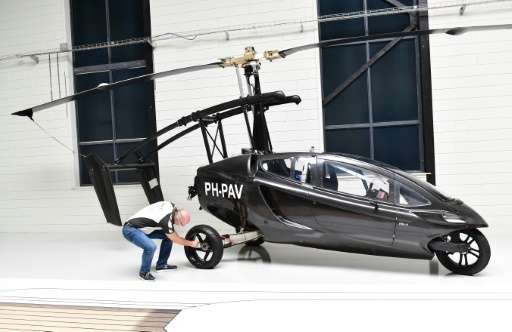 A prototype of a Dutch flying car at the headquarters of the PAL-V firm, which is aiming to deliver its first car in 2018