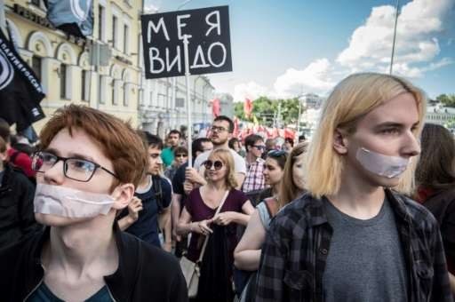 Around 1,000 people demonstrated in Moscow against Russian government controls on the internet